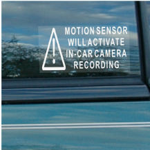 5 x Motion Sensor Activates In Car Camera Recording-Vehicle Security Stickers Signs-For Car,Van,Truck,Taxi,Mini Cab,Bus,Coach